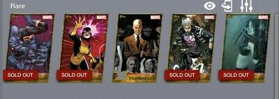 Topps Marvel Collect Card Trader X-men Weekly Wave  2 Complete Gold Die-cut Set