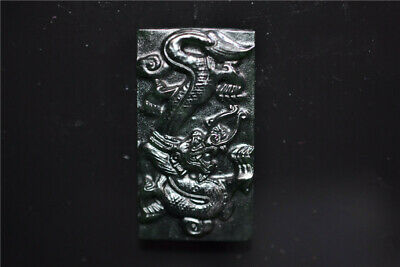 Chinese Dark Jade Handmade carving Dragon Pendant Blemish defective  115