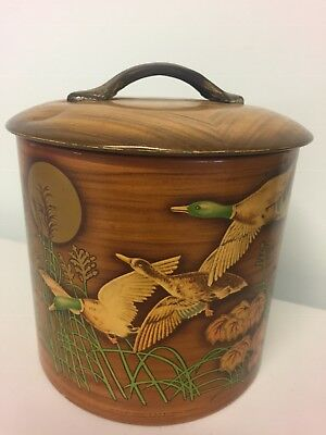 Vintage Metal Canister Biscuit Tin Wild Ducks Made in England Collectable