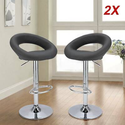 2 Bar Stools Grey Leather Chair Breakfast Chairs Swivel Lift Kitchen Cushioned