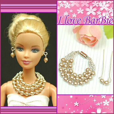 """Handmade doll jewelry 3 strs pearl necklace earrings accessory for 11.5/"""" dolls"""