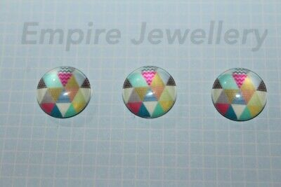 2 x Triangle Pattern #1 12x12mm Glass Cabochons Cameo Dome Geometric