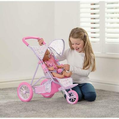 NEW Baby Born Tri 3 Wheel Stroller Dolls Doll Toy Pram Pushchair Pink