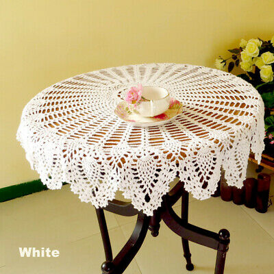 Vintage Hand Crochet Lace Doily Table Topper Round Beige TableCloth Cover 23inch