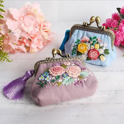 DIY Ribbon Flowers Embroidery Wallet for Beginner Needlework Kits Cross Stitch