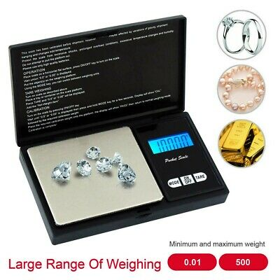 0.01g- 500G DIGITAL POCKET WEIGHING SCALES GOLD WEIGHT JEWELLERY HERBS KITCHEN