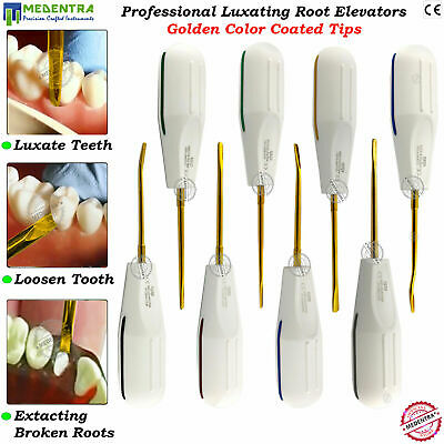 Dental Elevators PDL Root Luxating Oral Tooth Extraction Golden Tips 8PCS New