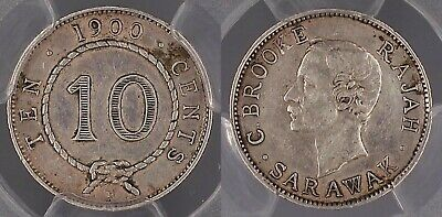 Sarawak 1900-H Ten Cent 10c Heaton and Sons mint PCGS Cleaned-AU Details