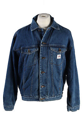 Vintage MFC Denim Jacket Sherpa Western Fashion Design Riders  S Blue - DJ1525