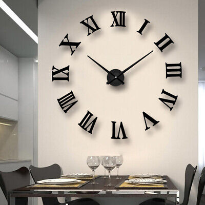 3D DIY Extra Large Roman Numerals Luxury Mirror Wall Sticker Clock Home Decor UK