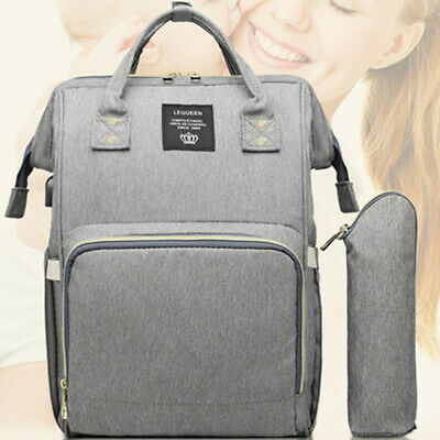 LEQUEEN Waterproof Baby Nappy Diaper Bag Mummy Maternity Travel USB Backpack !