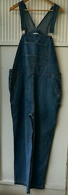 "Vintage Used Womens XLarge W42"" Long Denim Blue Overalls Dungarees Ref 1220"