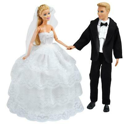 Wedding Gown Dress Clothes + Formal Suit Outfit For Barbie Ken Doll
