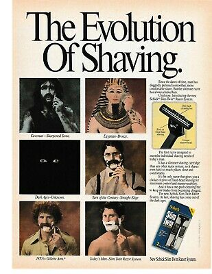 1989 - Vintage Print Ad - Schick Slim Twin : The Evolution Of Shaving .. Ad Only