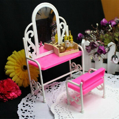 Fashion Furniture Bedroom Pink Bed Dressing Table & Chair Set For Barbies Dolls