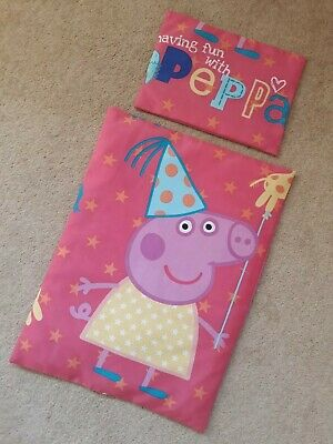 Peppa Pig Dolls Pram Cot Duvet Cover And Pillowcase Hand Made
