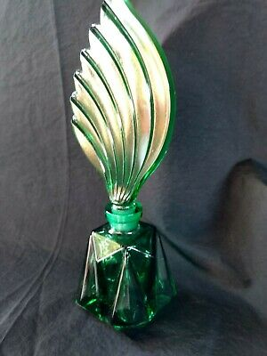 vintage Czech ART DECO EMERALD GREEN coloured glass perfume bottle
