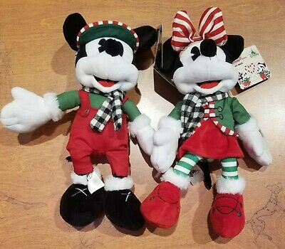 "Disney Parks 2019 Mickey & Minnie Mouse Christmas / Holiday 11"" Plushes NWT"