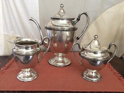 Vintage F B ROGERS Silver Co 3 Piece Silverplate Coffee/Teapot Sugar & Creamer
