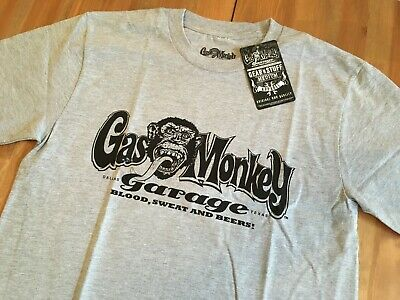 Gas Monkey Garage Mens Grey 100% Cotton T-Shirt Blood Sweat Beers New with Tags