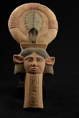 Lovely Limestone Ancient Egyptian Hathor/ Ankh / Hathor Key Of Life Statue