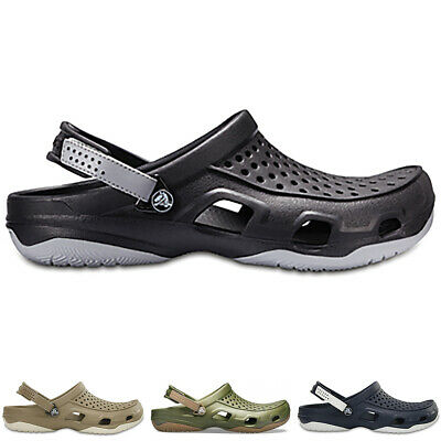 Mens Crocs Swiftwater Deck Clog Shower Beach Pool Lightweight Sandals All Sizes