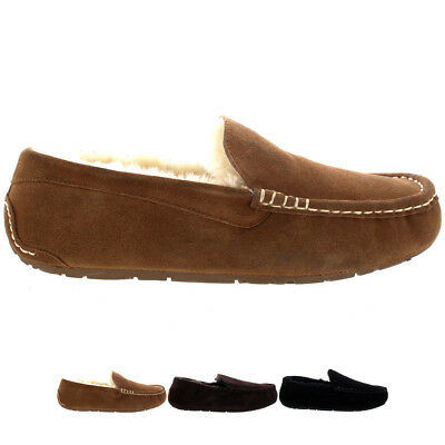 Mens Genuine Australian Suede Sheepskin Fur Loafers Moccasin Slippers All Sizes