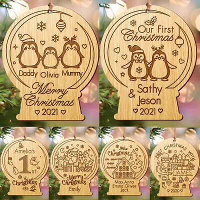 Christmas Tree Bauble Personalised Xmas Wooden Decoration for New Baby,Couple...