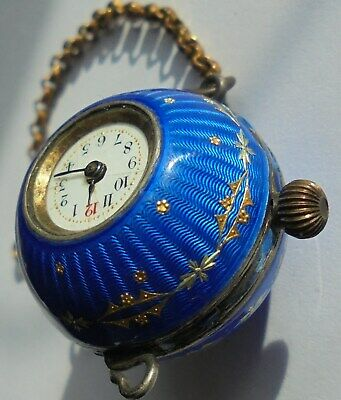 Antique Quality Small Sterling Silver Guilloche Enamel Ball Pocket Watch.