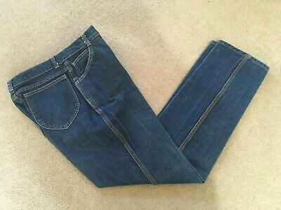 VINTAGE ST MICHAEL Tapered Leg High Waisted Mid Blue Jeans UK 16 (12) Long
