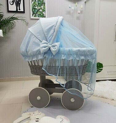 Complete Wicker Moses Basket With Stand Bedding Hood Mattress Tg-26