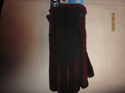 new womens ISOTONER GLOVES touchscreen SMART-DRI poly SPANDEX warm henna S/M