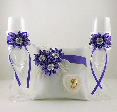 Champagne Glasses + Ringpillow with Name and Date Colour Selection Set Of