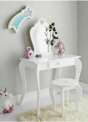 Amelia Vanity Children Kids Wooden Set Dressing Table With Mirror & Stool White