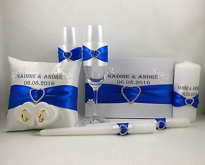 Set Ringpillow,Wedding Candle,Guestbook,Hochzeitsgläser with Name &