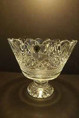 "Waterford Crystal Lismore Footed Trifle Bowl 9"" Artist Signed 2002 Orig Label"