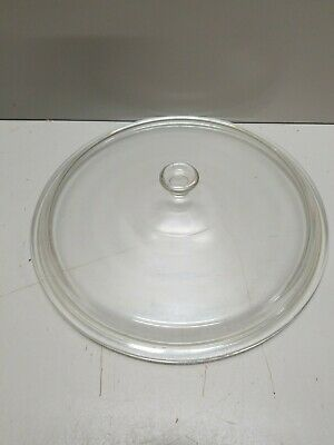 """Large ROUND Clear Glass REPLACEMENT LID USA 11 - OD 121/4""""  ID 11"""" Crock Pot"""