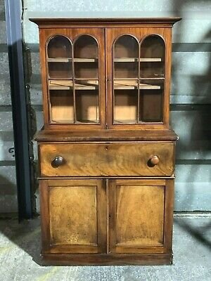 Superb antique Victorian glazed mahogany secretaire bureau bookcase office unit