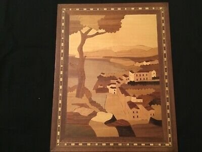 Vintage Sorrento Marquetry inlaid wood Italian Riviera 9.25 x 11.5 not glossy