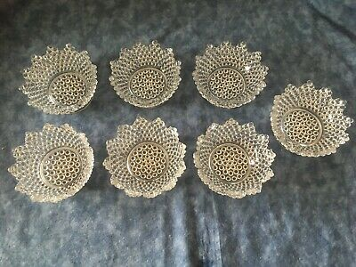 7 Vintage Clear Glass Dessert Fruit Footed Bowls Hobnail Scalloped Pointed Top