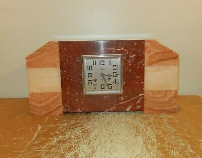 French Art Deco Onyx & Marble Mantle Shelf Clock
