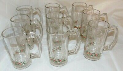 Set of 9 Holly Berry ARBYS Christmas Glasses Beer Stein Mugs 12 oz
