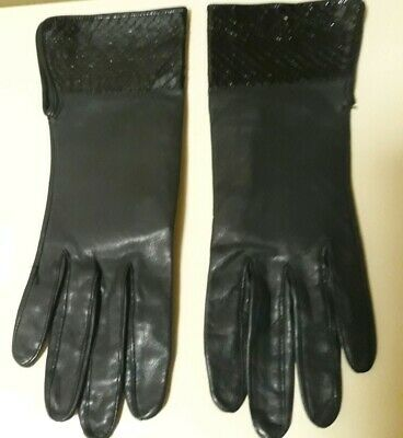 Patti Horn Vintage Snakeskin Embossed Leather Gloves Size 7