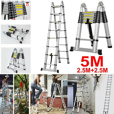 5M Portable Heavy Duty Multi-Purpose Aluminium Telescopic Folded Ladder A Frame
