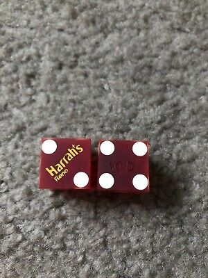 2 Authentic Gambling Playing Casino Frosted Dice Harrahs Reno Nevada