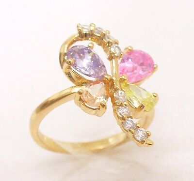 Women 18K Yellow Gold Plated Pink Flower CZ Cubic Zirconia flower Ring Size L O