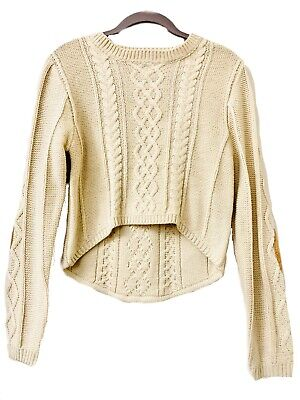 Love Tree Happens Cable Knit Beige Cropped Front Sweater Suede Elbow Patches S