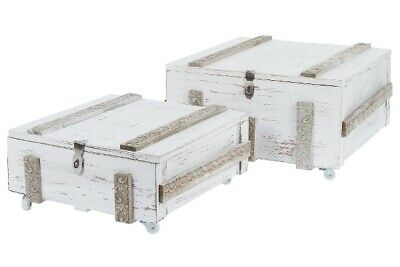 Coffee Table Set Chest Box White Antique Wooden Shabby