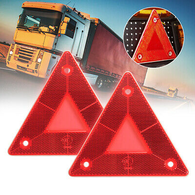 2 x Triangular Red Reflectors - Screw Fit Rear Triangle For Trailers Caravans