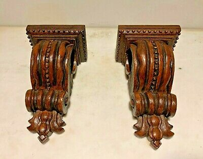 Lovely Ornate and Sculptured Corbel Sconce Wall Shelves simulated Wood Finish